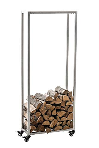 CLP Kaminholzständer HETTA, Brennholzständer, Kamin-Holzregal, Holzlager, Kamin-Holzhalter, Holzbutler, Farbe:Edelstahl, Größe:25x40x100 cm