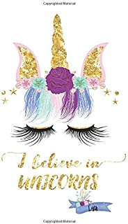 """I Believe in Unicorns Lists: B6 (5""""x7"""") Traveler's Notebook Insert with Gold Accents on Cover"""