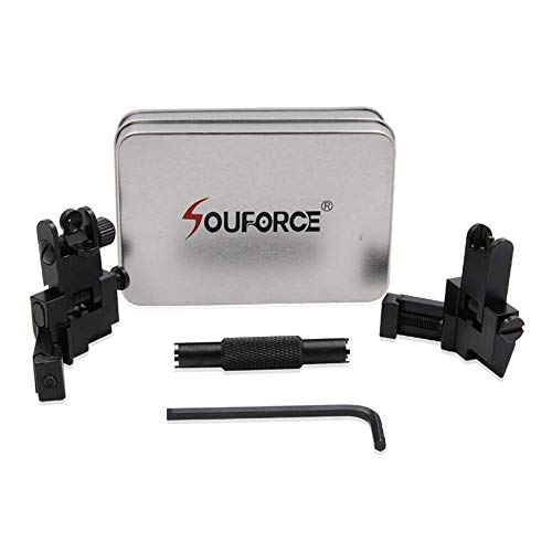 SOUFORCE 45 Degree Offset Backup Iron Sights, Front and Rear Canted Flip Up Sight Set for Picatinny and Weaver Rail Mount with Front Sight Adjustment Tool