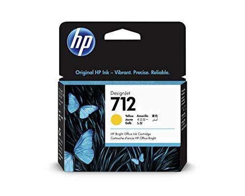 HP 712 3ED69A Amarillo, Cartucho de Tinta Original HP, de 29 ml, para Impresoras Plotter de Gran Formato HP DesignJet Series T650, T630, T250, T230 y Studio y Cabezal de Impresión HP 713