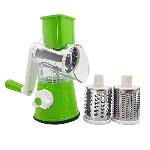 WEIKE Gemüseschneider Obst Kartoffel-runde Mandoline Slicer Shredder Küchenhelfer Multifunktions mit 3 Edelstahl-Küche-Werkzeug Einstellbare Mikrotom Lebensmittel Zerschneiden Maschine,Grün
