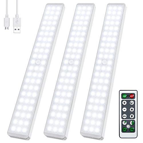 LED-Bewegungsmelder Schrankbeleuchtung, 62 LEDs Dimmbare Unterschrankbeleuchtung mit Fernbedienung, USB Wiederaufladbar Drahtlose Unterschrankbeleuchtung Magnetisch Sicheres Nachtlicht für Treppen