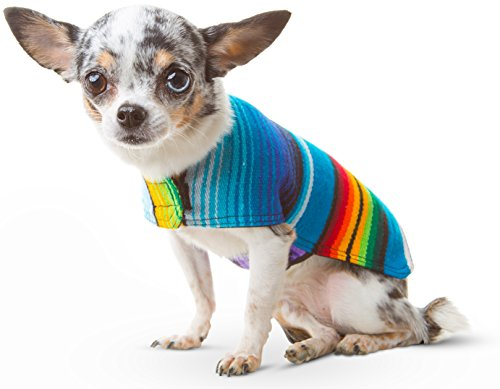 Dog Clothes - Handmade Dog Poncho - Cinco De Mayo Costume from Authentic Mexican Blanket by Baja Ponchos (No Fringe, XXS)