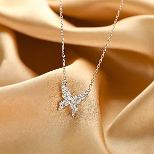 Collares Joyería Colgantes Collar De Mariposa De Diamantes De Plata 925, Joyería Exquisita para Mujer, Regalo De Cumpleaños, Temperamento, Cadena De C