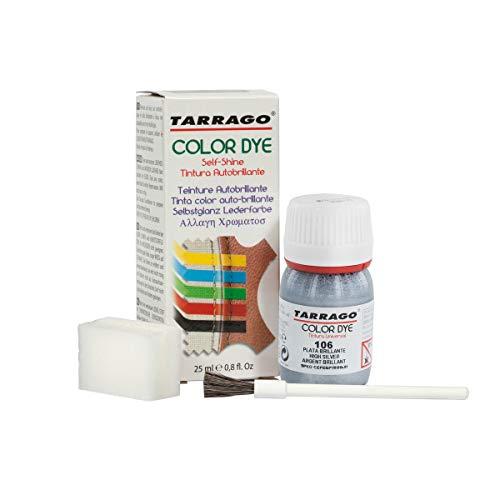 Tarrago | Self Shine Color Dye 25 ml | Tintura Autobrillante para Zapatos y Accesorios | Cubre Rozaduras y Desgastes del Calzado | Plata Brillante (106)
