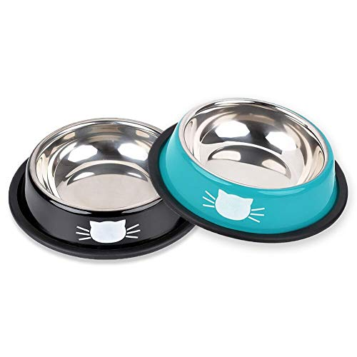 DMSL Katzenfütterungsschüssel, Edelstahlschüssel, rutschfeste Katzenschüssel, Katzenfutterschale, Wasserschale, Schale(2 Stück)
