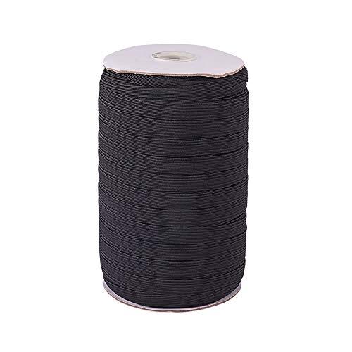 PandaHall Elite Flaches elastisches Kabel, 10mm; ungefähr 100 Yards/Rolle, schwarz