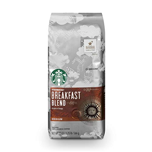 Starbucks Breakfast Blend Medium Roast Ground Coffee, 20 Ounce (Pack of 1 Bag)