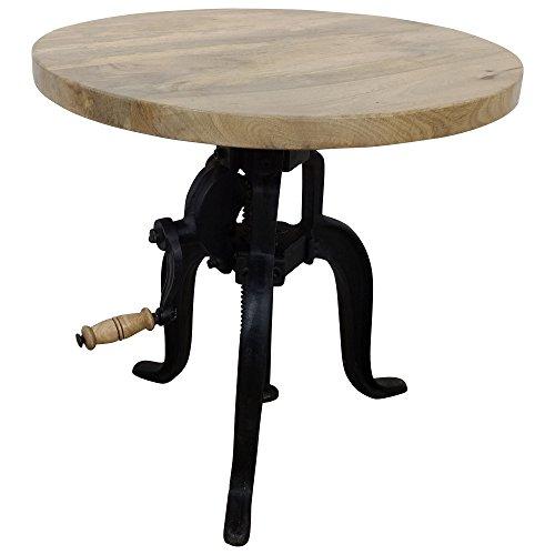 Beistelltisch rund Couchtisch höhenverstellbar Holz - runder Wohnzimmertisch in braun - Stubentisch aus Mango-Holz - Industrial Tisch fürs Wohnzimmer - Gestell Metall Schwarz - B/T/H: 50x49-63x50 cm