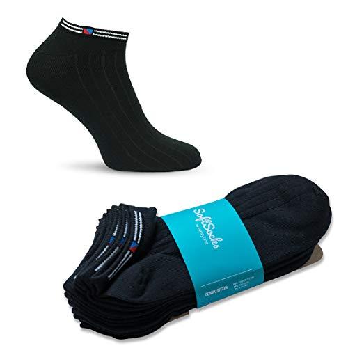 SoftSocks klassieke sneaker sokken voor dames, heren en jongeren, verschillende maten, 6 paar - zwart, wit of mix! Katoenrijke kwaliteit! (6 x Zwart, 47-50)