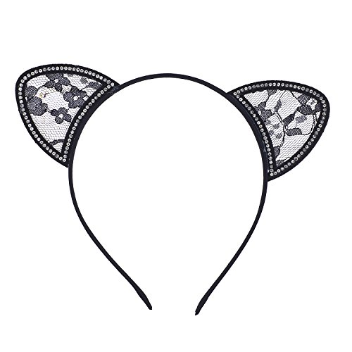 Lux Accessories Halloween Black Lace Cat Ear Cosplay Party Costume Accessory Headband 4