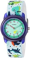 1. Timex Boys Time Machines Analog Elastic Fabric Strap Dinosaur Watch