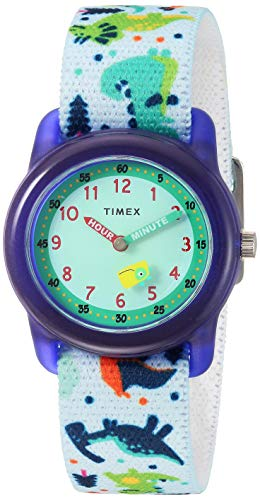 Timex Boys TW7C77300 Time Machines White/Dinosaurs Elastic Fabric Strap Watch