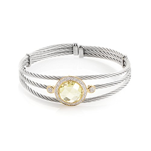 CHARRIOL Celtic Cable 18K Stainless Steel Lemon Citrine & Diamond Bangle