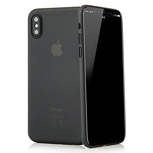 QUADOCTA Custodia Premium Ultra Slim per iPhone X, iPhone XS (5,8') - Conchiglia Protettiva - Tenuis in Nero - Ultra Sottile - Cover Smart Leggermente Trasparente - per iPhone 10 (Qi Compatibile)