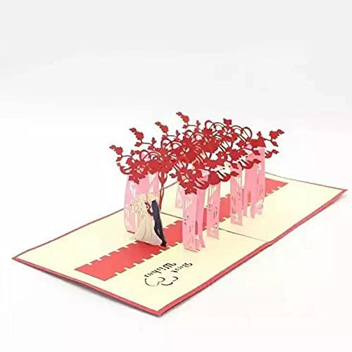 Tarjeta de boda desplegable de pareja de novios, tarjeta 3D especial para bodas, tarjeta de felicitación para ceremonias, hecha a mano, incluye sobre (rojo)