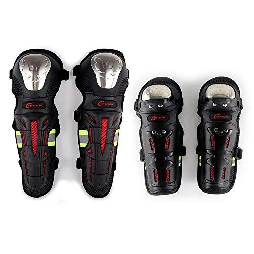 elegantstunning Protège-Tibias pour Moto, Motocross, coudières, équipement de sécurité Noir