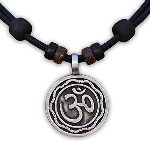 HANA LIMA ® Lederkette Halskette Om Buddha Shiva Indien Surferhalskette Lederhalskette