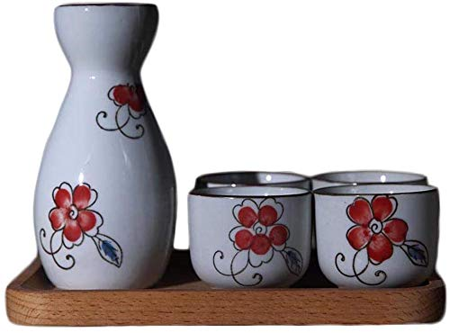 5-teiliges Set Sake, japanische Art Weingläser Set mit Tablett, Einzigartigen Underglaze Malerei Entwurf, for Kalt/Warm/Hot/Shochu/Tee, for Familie Freunde Traditioneller Sake