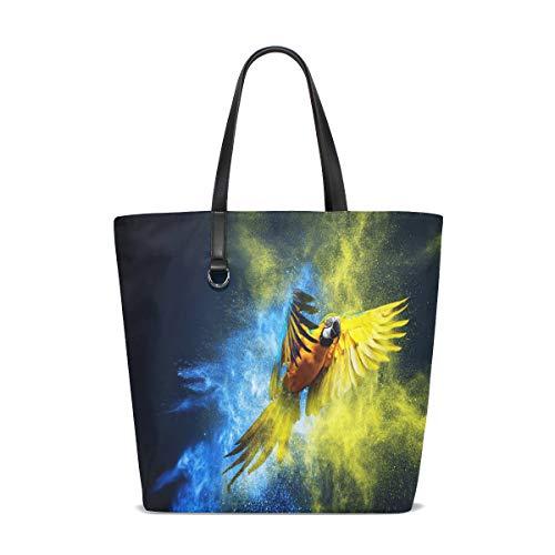 BKEOY große Damen-Handtasche Schultertasche Papagei Fliegen über bunte Explosion Puder Tote...