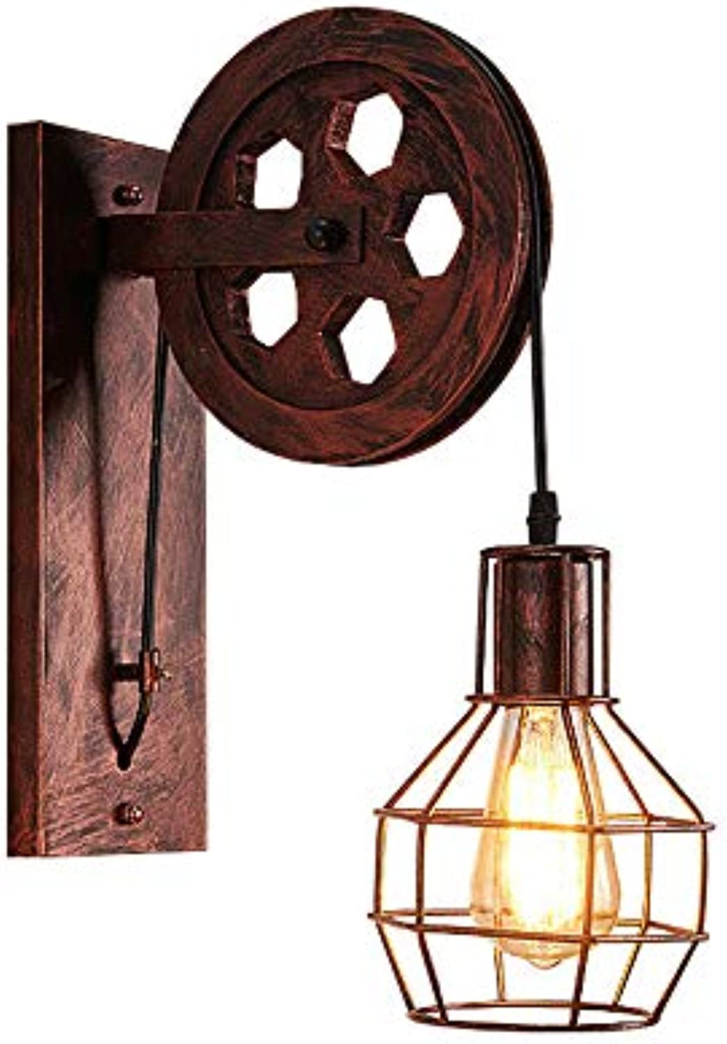 Zweifarbige optionale American Retro Wall Lamp Industrial Wind Creative Wall Lamp Pulley Wall Lamp Restaurant Lamp Balcony Corridor Shop Lamp,Brass