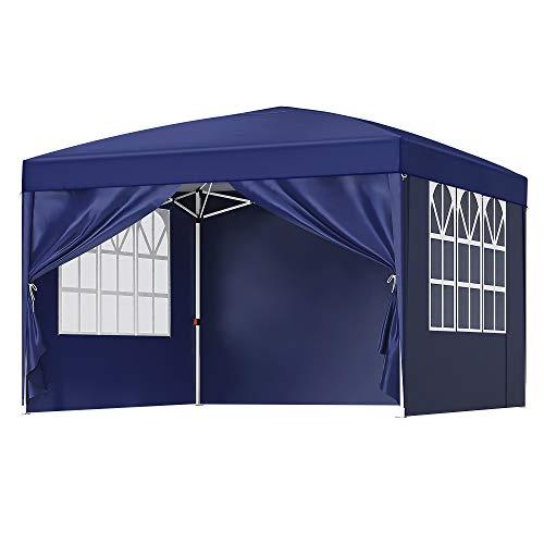 SONGMICS Pavillon, 3 x 3 m Gartenzelt,Anti-UV, Pop-up Gartenpavillon, Vorzelt, Faltpavillon, mit Tasche, 2 Seitenwände mit Fenster, Outdoor, Garten, Markt, Partys, blau GCT14IN