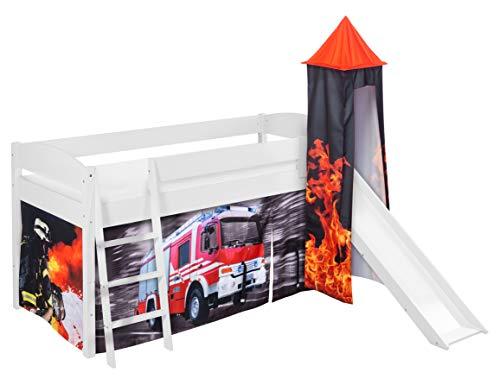 Lilokids Spielbett IDA 4105 Feuerwehr - Teilbares Systemhochbett weiß - mit Turm, Rutsche und Vorhang