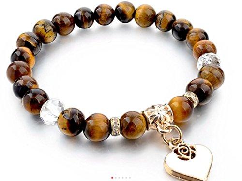 Armband Perlen und Herz, vergoldet (AUGE GETIGERTEN)