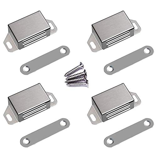 WOOCH Magnetic Door Catch - 25lb High Magnetic Stainless Steel Heavy Duty Catch for Kitchen Bathroom Cupboard Wardrobe Closet Closures Cabinet Door Drawer Latch (2.1 in Silver, 4-Pack)
