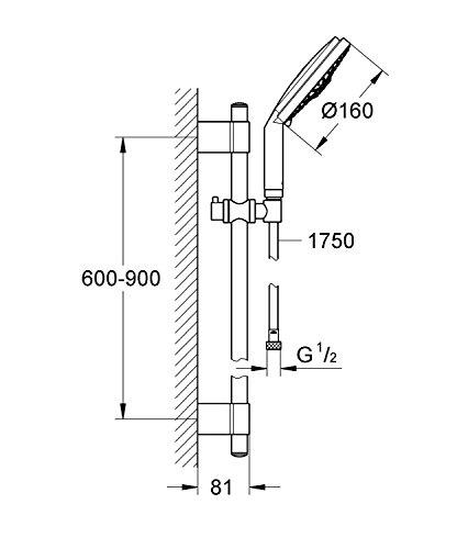Grohe – Rainshower Cosmopolitan 160 mit Brausestangenset und 4 Strahlarten, variable Befestigung, Chrom - 2
