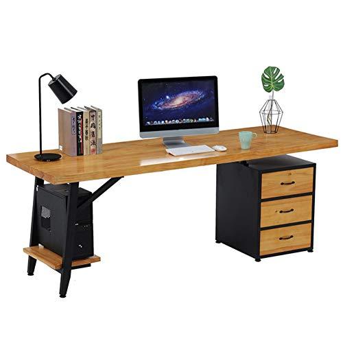 RLIRLI Moderne Minimalistische Massivholzschublade Computertisch Home Schlafzimmer Einzelschreibtisch Schmiedeeisen Studiertisch Und Stuhl Kombination