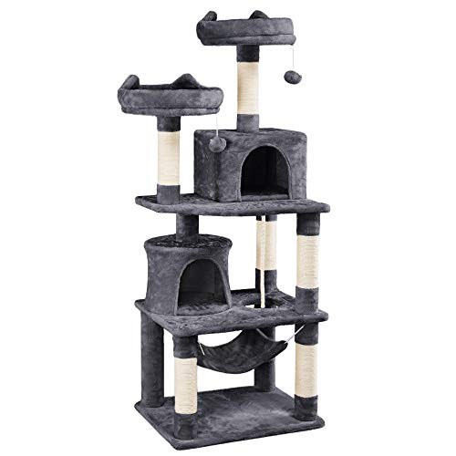 Yaheetech 62.2inches Cat Tree Cat Tower Cat Condo with Platform & Hammock, Scratching Posts for Kittens Pet Play House with Plush Perch for Indoor Activity Relaxing