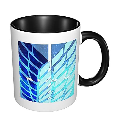 Taza Attack On Titan, tazas de porcelana de 11.56 ml con mango, esmalte de textura de moda, tazas de café con leche modernas para café de la mañana, cumpleaños, fiesta, regalo
