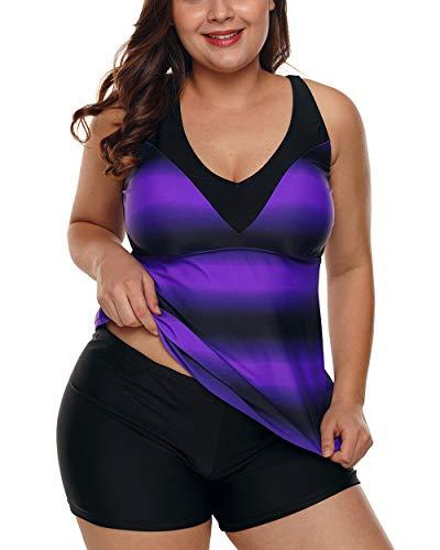 Gloria&Sarah Women's Plus Size Tankini with Boyshorts Strappy Criss Cross Two Piece Swimwear Swimsuit Set, Purple, XXL