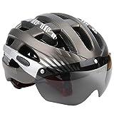 VGEBY Casco de Bicicleta, Transpirable, cómodo, Casco Deportivo, Gafas Integrado, Casco de Patinaje de Ciclismo magnético, Accesorio de Forro Interior Desmontable(Plata)