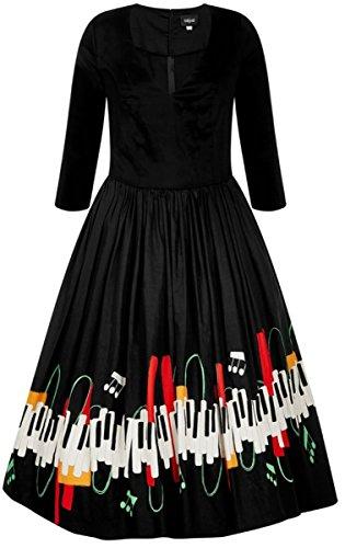 Collectif Damen Kleid Billie Jazz Piano Swing Dress Schwarz 3XL