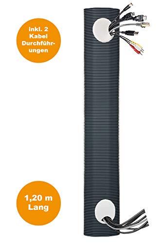 Kabelkanal Set | 120 cm lang | Unterputzkabelkanal, Multimediakanal, Unsichtbare Kabeldurchführung, Multimedia-Rohr, TV ohne Kabel, Elektro-Installationsrohr