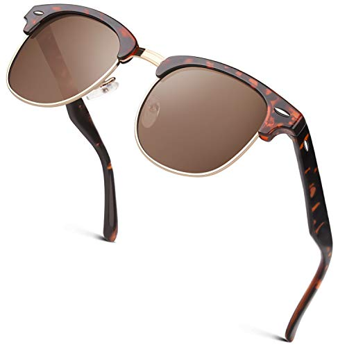 GQUEEN Horn Gestell Halbrahmen Retro Sonnenbrille Herren Damen Polarisiert GQO6