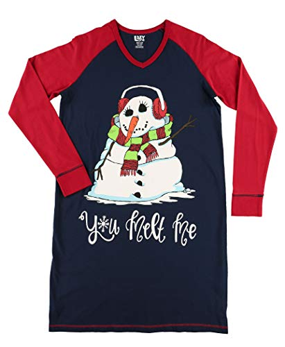 Lazy One V-Neck Nightshirts for Women, Animal Designs, Snowman, Winter, Snow (You Melt Me, L/XL)