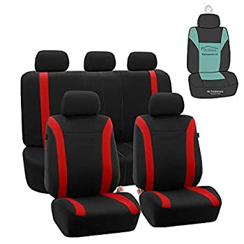 FH Group FB054115 Black Cosmopolitan Flat Cloth Full Set Car Seat Covers  Airbag Compatible & Split Bench  w Gift Red/ Black Color -Fit Most Car Truck SUV or Van