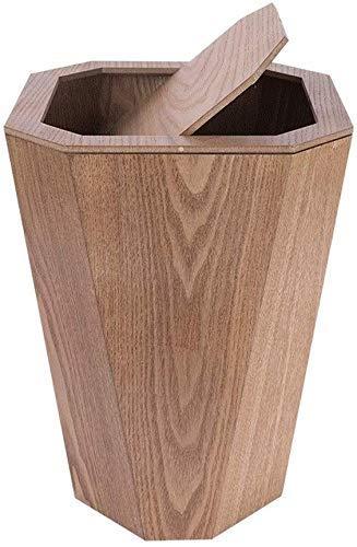 Bote de basura Bote de basura de la basura de madera Can Papelera for el dormitorio Cocina de la oficina dormitorio de la universidad, 6.5Gallon de desecho pueden marrón Agitar la Papelera de reciclaj
