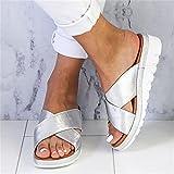 Chanclas para Hombre,Zapatillas de Sandalia de tamaño Cruce de Gran tamaño, Pendiente de Fondo Grueso con Moda-Plata_37,Sandalias de Neopreno
