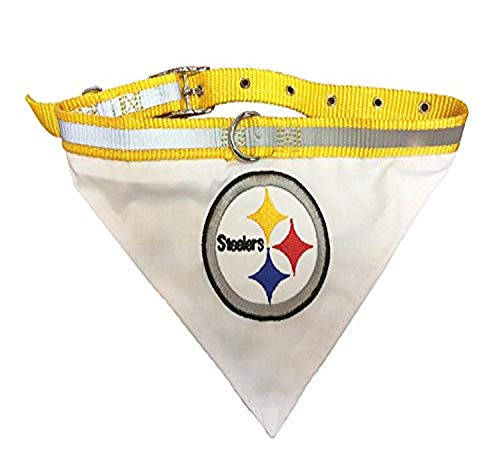 NFL BANDANA - PITTSBURGH STEELERS PET BANDANA with Reflective & Adjustable PET COLLAR, Medium