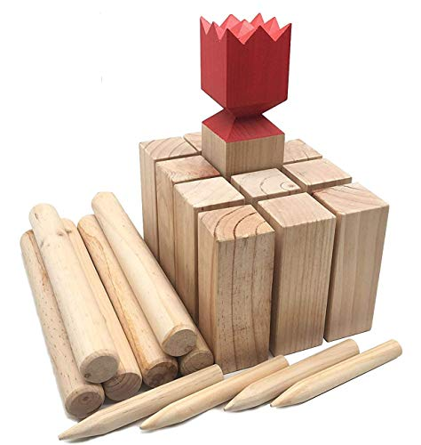 Kubb Viking Chess Lawn Game All Wood Back Yard Games Deluxe Kubb Game Premium Set Beach Games Regulation Size (Deluxe)