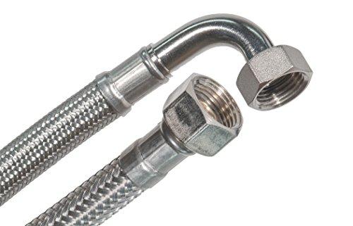 SFX® Gepantserde slang DN8-1/2'' ÜM x 1/2'' ÜM 90°-bocht Drinkwaterslang Roestvaststalen flexibele slang Verlengslang Aansluitslang 70 cm