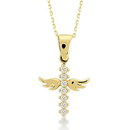 Damen Halskette 14 Karat / 585 Gelbgold Kreuz mit Engelsflügeln und Steinen als Anhänger | 14k Gold Angel Wings Cross Necklace | Kettenlänge 45cm
