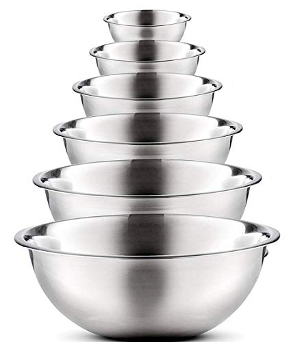 Kitchen kemistry, Mixing Bowls (Set of 6) Premium Stainless Steel – Easy to Clean, Nesting Bowls for Space Saving Storage, Great for Cooking
