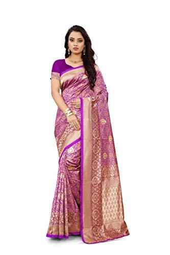 Freya crafts Banarasi Silk Saree With Unstitched Blouse Piece India