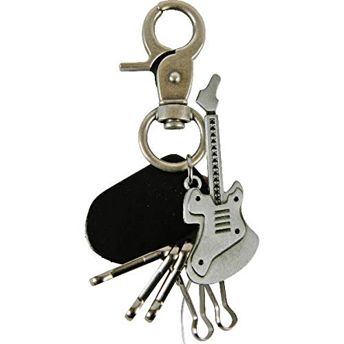Gitaar grijs met zwart lederen rok E gitaar muziek bass sleutelhanger 7 cm | cadeau voor mannen | concert | hanger | karabijnhaak