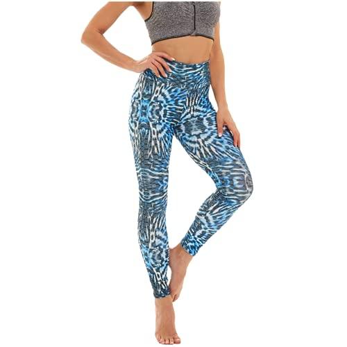 QTJY Leggings de Mujer con Estampado de teñido Anudado, Pantalones de Yoga con Levantamiento de Cadera y Cintura Alta, Leggings de Fitness elásticos Push-up, Pantalones de Celulitis BL